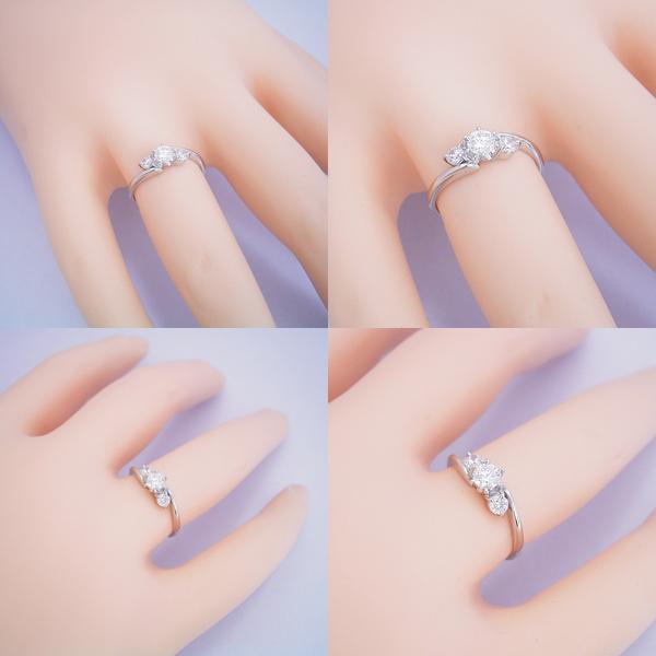 6本爪サイドメレデザインの婚約指輪