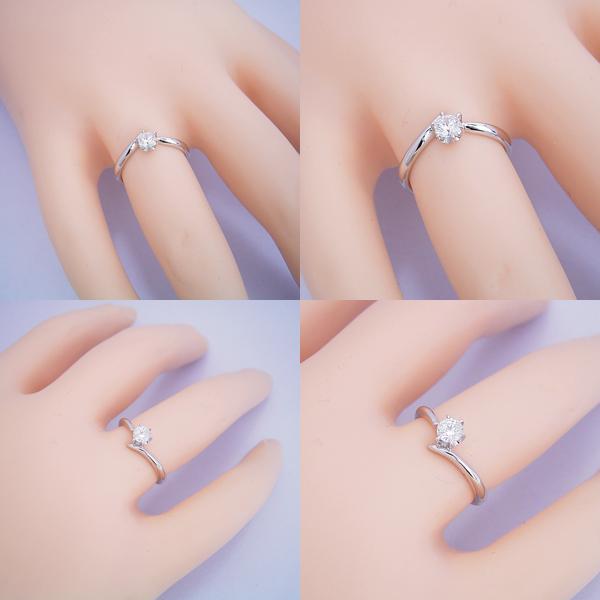 6本爪Vラインタイプの婚約指輪