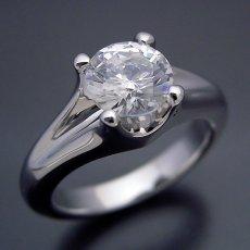 画像3: 1カラット版:隠れた4本爪デザインの婚約指輪 (3)
