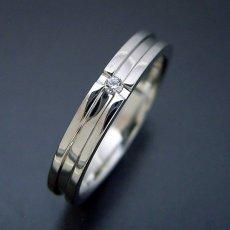 画像4: シンプルなクロスラインのダイヤモンド入り結婚指輪 (4)