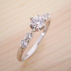 画像1: 6本爪サイド2Pメレデザインの婚約指輪 (1)
