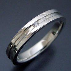 画像2: シンプルなラインのダイヤモンド入り結婚指輪 (2)