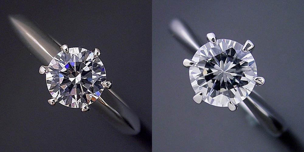 """6本爪ティファニーセッティングの婚約指輪との比較画像"""" class="""