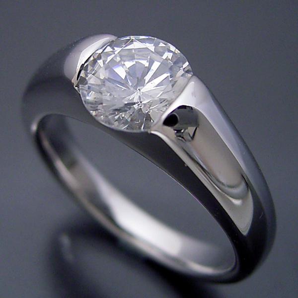 画像1: 1カラット版:甲丸リングにダイヤモンドを埋め込んだ婚約指輪 (1)