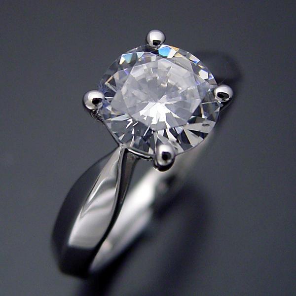 画像1: 1カラット版:4本爪の新しいデザインの婚約指輪 (1)