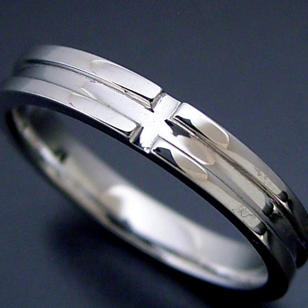 画像1: シンプルなクロスラインの結婚指輪 (1)