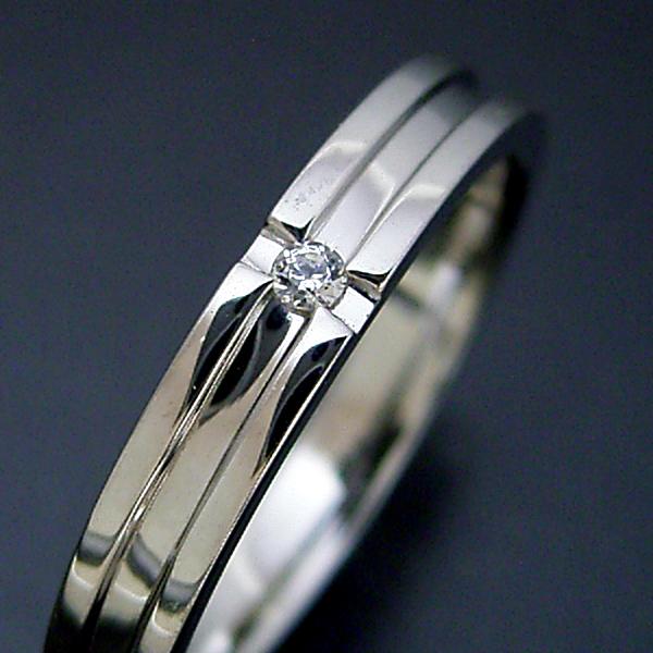 画像1: シンプルなクロスラインのダイヤモンド入り結婚指輪 (1)