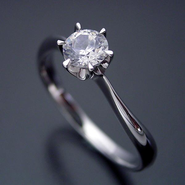 画像1: アームデザインが新しい6本爪ティファニーセッティングの婚約指輪 (1)