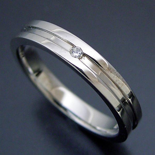 画像1: シンプルなラインのダイヤモンド入り結婚指輪 (1)