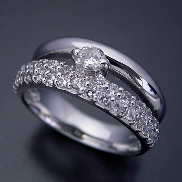 画像1: パヴェセッティングと甲丸リングを組み合わせた婚約指輪 (1)