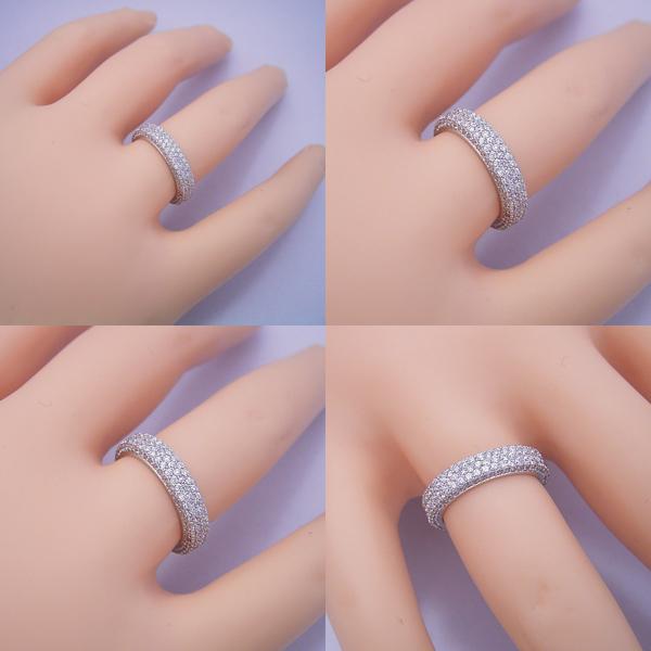 平打ちリングがベースのフルパヴェセッティングエタニティリングの婚約指輪