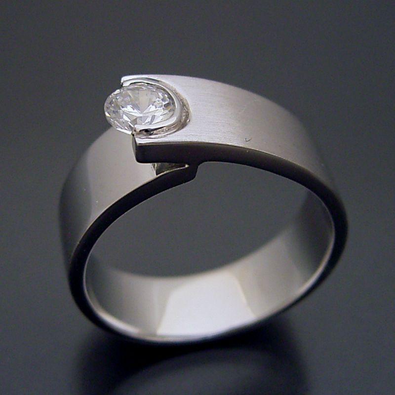 画像1: シンプルでスタイリッシュな婚約指輪「Kiwami type Six」 (1)