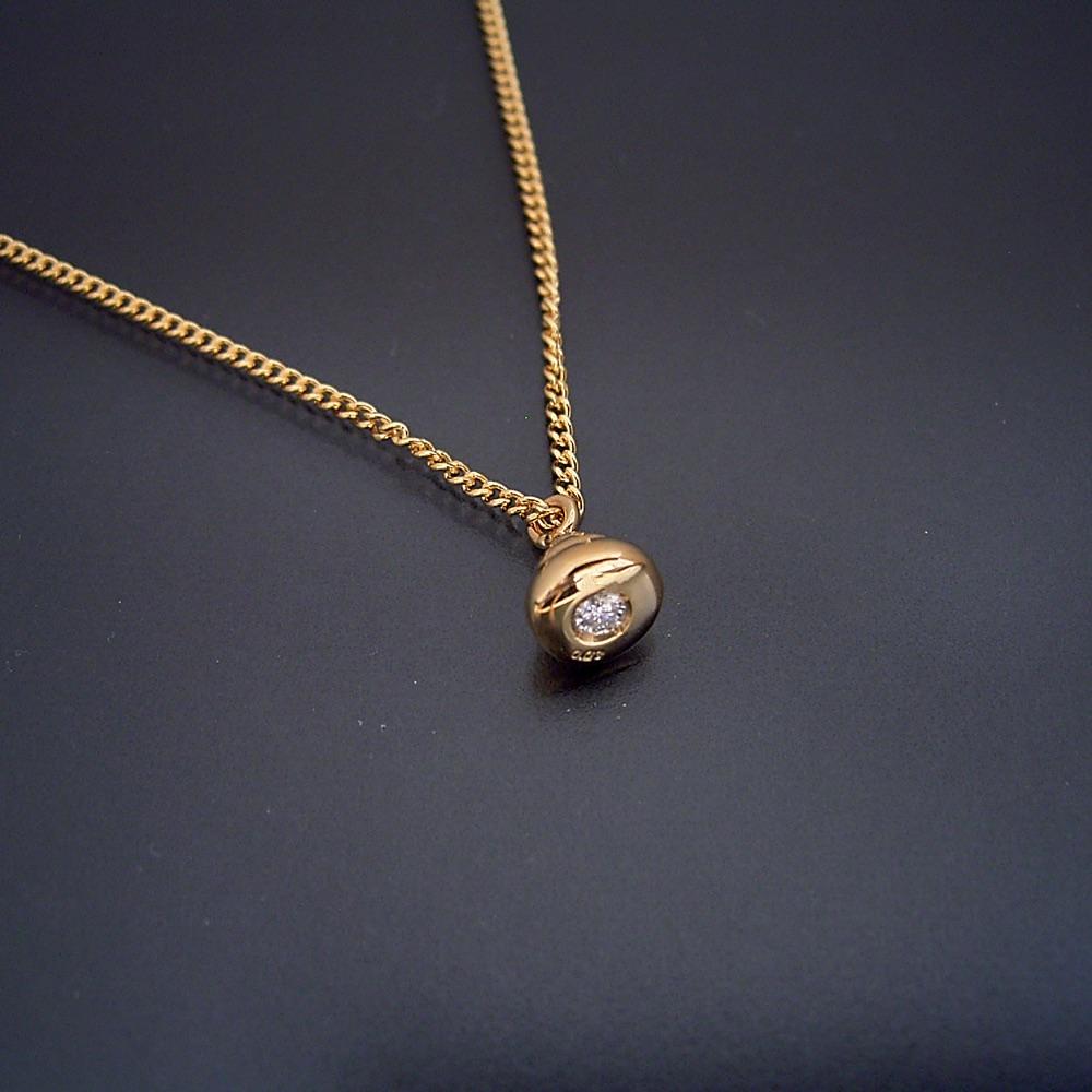 画像1: 金のうんこネックレス・ペンダント(フルモデル・宝石入り) (1)