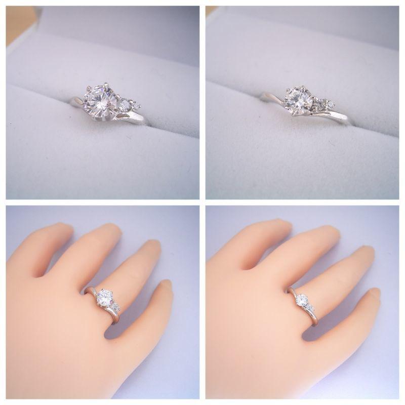 2つのサイドメレダイヤが凄く可愛い、ずっと作りたかった婚約指輪